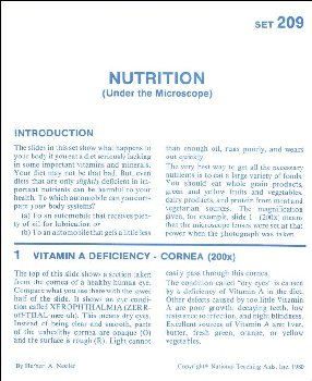 Nutrition Microslide Lesson Set