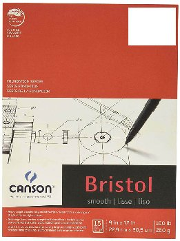 "Canson Bristol Smooth Pad - 15 sheets (9"" x 12"")"