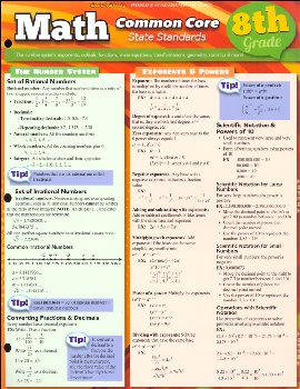 Math Common Core State Standards 8th Grade Quick Study