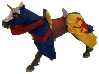 Horse with Blue and Yellow Robe and Red Leopard (Knights and Dragons Collection)
