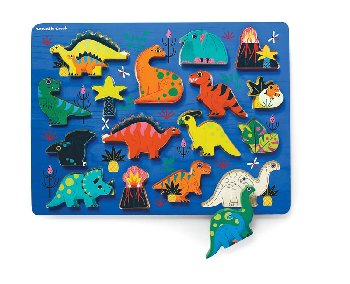 Let's Play Wood Puzzle + Playset - Dinosaurs (16 pieces)
