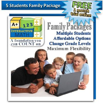 Family Math Package for 5 Students: 1 month free trial