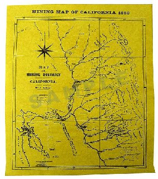 Mining Map of California Historical Document
