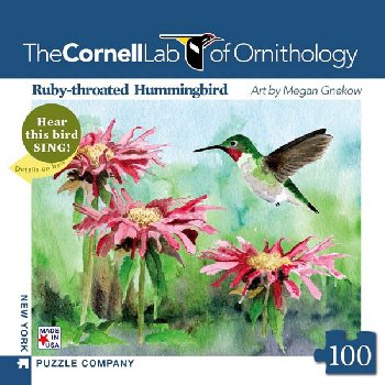 Ruby-Throated Hummingbird 100 piece Mini Puzzle (Cornell Birds)