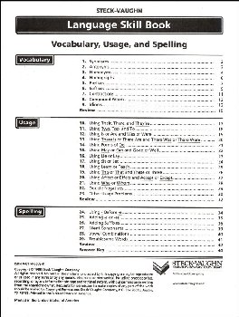 Vocabulary, Usage and Spelling Language Skill Book