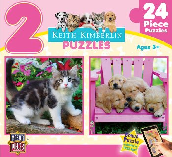 Kimberlin Fluffy Furballs 2 Pack Puzzle (24 Pieces)