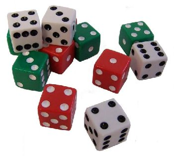 Dot Dice - Set of 12 (4 Each of Red, White, and Green)