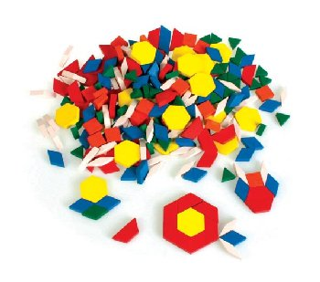 Set of 250 Wooden Pattern Blocks (1 cm thick) in bag