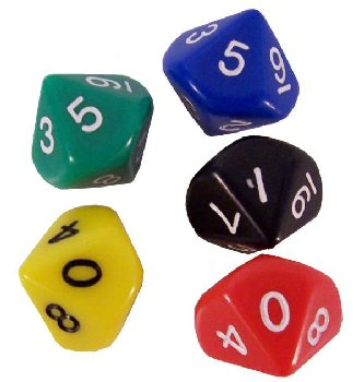 Decahedra Dice (10 Sided) 2 ea of 5 colors