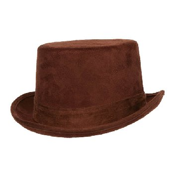 Brown Faux Suede Top Hat