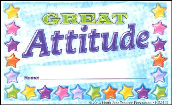 Great Attitude Incentive Punch Card