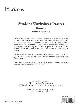 Horizons Math 2 Worksheet Packet