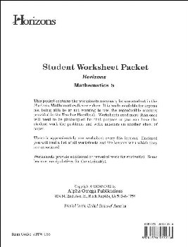 Horizons Math 5 Worksheet Packet