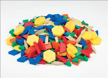 Set of 250 Plastic Pattern Blocks (1 cm thick)