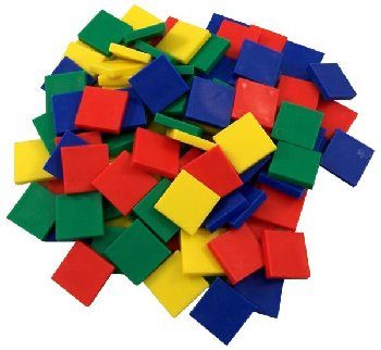 "Color Tiles - Plastic 1"" - Set of 100"