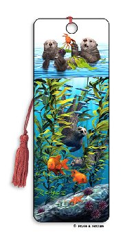 Sea Otters 3D Bookmark