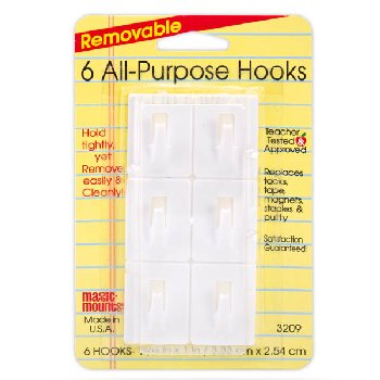 "Removable All-Purpose Hooks - 6 count (1"" x 1  5/16"")"