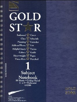 Gold Star One Section Notebook