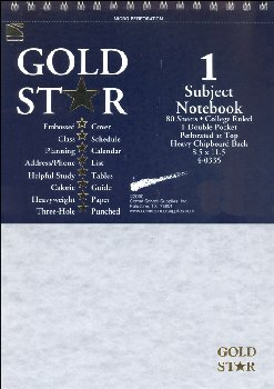 Gold Star One Section Top-Open Notebook