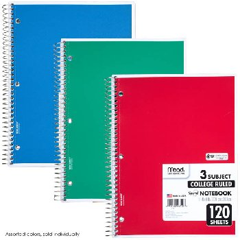 "Mead Spiral Notebook 3 Subject, 200 Sheets, College-Ruled, 11""x8"" (assorted colors)"