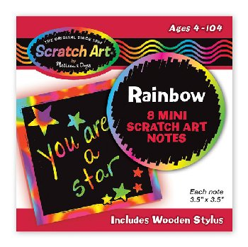 Scratch Art Rainbow Mini Notes ( 8 3.5 x3.5  sheets )