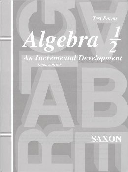 Saxon Algebra 1/2 3ED Consumable Tests Only