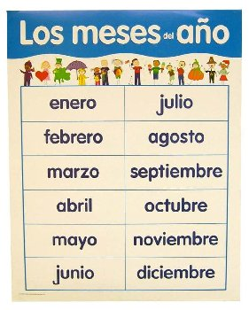 Spanish Basic Skills Chart-Months of the Year