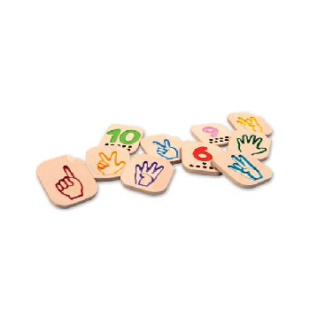 Hand Sign Numbers 1-10 Wooden Tile Set