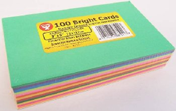 "Bright Cards -100 Blank Cards in 13 Assorted Colors (3"" x 5"")"