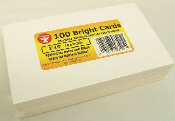 "Bright Cards - 100 Blank Ultra White Cards (3"" x 5"")"