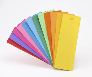 "Bright Marks - 35 Acid Free Blank Bookmarks in 7 Assorted Colors  (2"" x 6"" )"