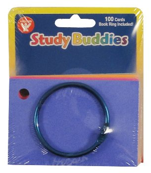 "Study Buddies - 100 Cards with Corner Drill in Assorted Colors (2"" x 3"")"