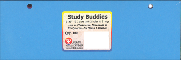"Study Buddies Note Cards, 100 - 3"" x 9"" Cards (12 Colors, 2 Holes & 2 Rings)"