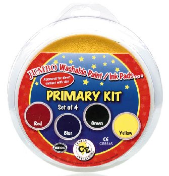 Jumbo Washable Stamp Pads - Primary Kit of 4 (Ready 2 Learn Stamp Pad)
