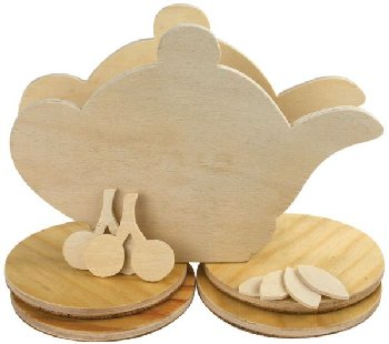 Tea Kettle Coaster Woodcraft Set