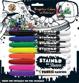 Stained Brush Tip Fabric Markers (Assorted) - 8 count
