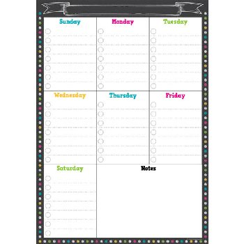 Clingy Thingies - Chalkboard Brights Weekly Schedule