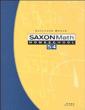 Math 5/4 Homeschool Solutions Manual (3rd Edition)