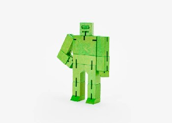 Cubebot (Wooden Toy Robot) - Small green