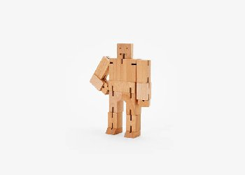 Cubebot (Wooden Toy Robot) - Small natural