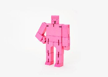 Cubebot (Wooden Toy Robot) - Small pink