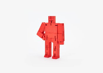 Cubebot (Wooden Toy Robot) - Small red