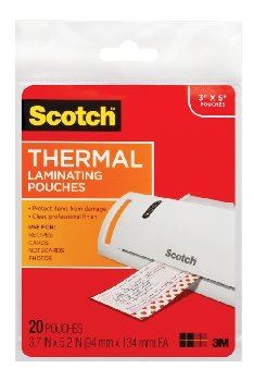 "Thermal Pouches 3.74"" x 5.31"" 20 per pack"