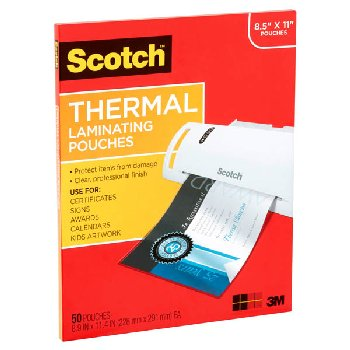 "Thermal Laminating Pouches, Letter Size 8.5"" x 11"" 50 per pack"