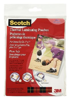 "Thermal Pouches, Photo Size 5.31"" x 7.28"" 20 per pack"