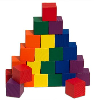 "Color Cubes Wooden, 1"" in 6 colors (set of 24"