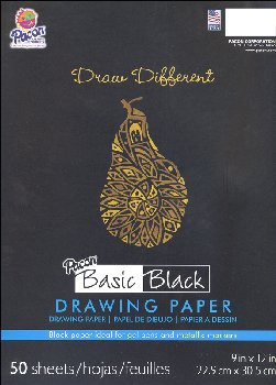 "Pacon Basic Black Art Drawing Paper (9"" x 12"")--50 Sheets"