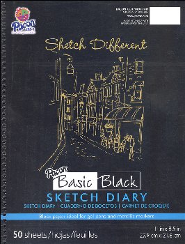 "Pacon Basic Black Art Papers - Sketch Diary (11"" x 8 1/2"") - 50 Sheets"