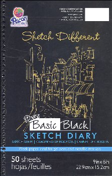 "Pacon Basic Black Art Papers - Sketch Diary (9"" x 6"") - 50 Sheets"