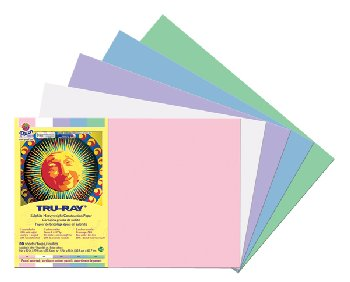 "Tru-Ray Sulphite Construction Paper - Pastel Assorted, 5 Colors (12"" x 18"") - 50 Sheets"